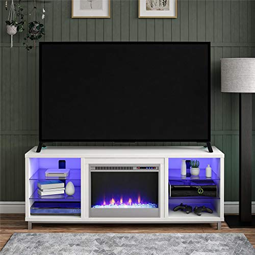 """Ameriwood Home Fireplace TV Stand for TVs up to 70"""", White"""