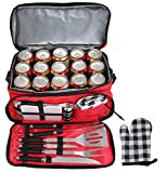 POLIGO 12pcs Stainless Steel BBQ Grill Tools Set with Red Insulated Waterproof Cooler Bag - Premium Barbecue Grill Accessories for Fathers Day Birthday Presents Ideal Grilling Gifts for Men Women