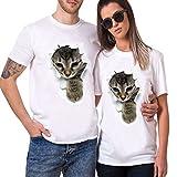 Tシャツ メンズ 半袖 おしゃれ 白 プリントtシャツ Timsa 上着 レディース トップス 可愛いネコ柄 人気 3D猫 穴を破る 猫ちゃん柄 夏最適 ホワイト ティーシャツ 男女兼用 カップル服 友達彼氏 プレゼント オーバーサイズ S-4XL 大きいサイズ