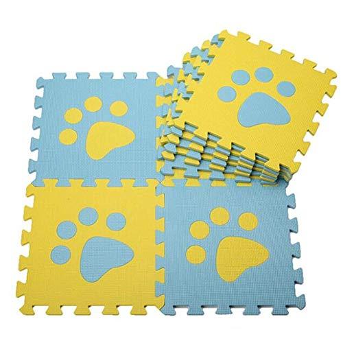10 Pcs Baby Spielmatte mit Pfotenmuster, weiche Schaumstoff-Puzzle-Matte, Krabbelmatte, EVA-Spielboden, Kinder-Spielhaus-Pad, Indoor-Übungs-Fußmatten, ineinandergreifende Fliesen, Bodenschutzmatte
