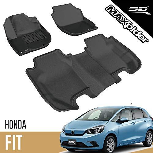 3D MAXpider L1HD05501509 Honda Fit 2015-2020 Custom Fit All-Weather Car Floor Mats Liners, Kagu Series (1st & 2nd Row, Black)
