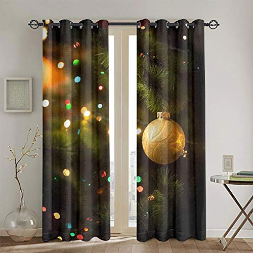 LanQiao Macro Photo of Golden Ball and Light Garland on Christmas Tree Light Luxury Curtains W55 x L45 Suitable forYourownPersonalSpace
