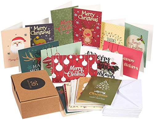 Xmas Cards - 36-Pack Merry Christmas Holiday Greeting Cards Bulk Box Set - Assorted Winter Holiday Xmas Kraft Greeting Cards in 36 Cute Designs Envelopes Included 4 x 6 Inches