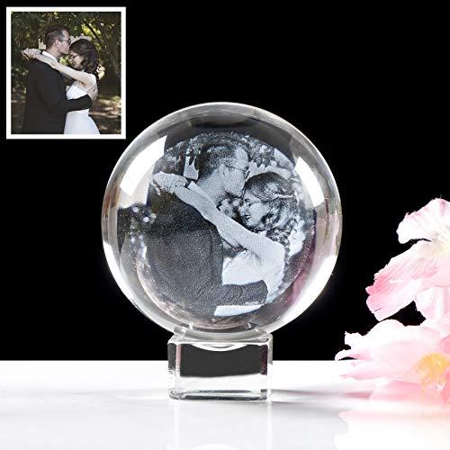movdyka K9 - Bola de cristal personalizada, 60 mm, grabado láser personalizado en 2D, con base de cristal, boda única para esposa