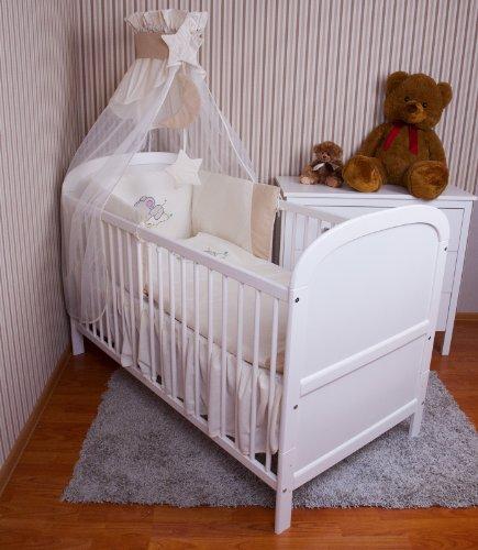 Ami Lian® Baby biancheria da letto Cielo paracolpi letto set con ricamo 100x 135cm Nuovo per lettino elefante Ecru Chiffon Cielo