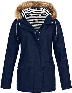 SEXYTOP Women's Winter Parka Warm Thicken Windbreaker Hooded Jacket Outdoor Casual Waterproof Rain Coat Trench Outerwear