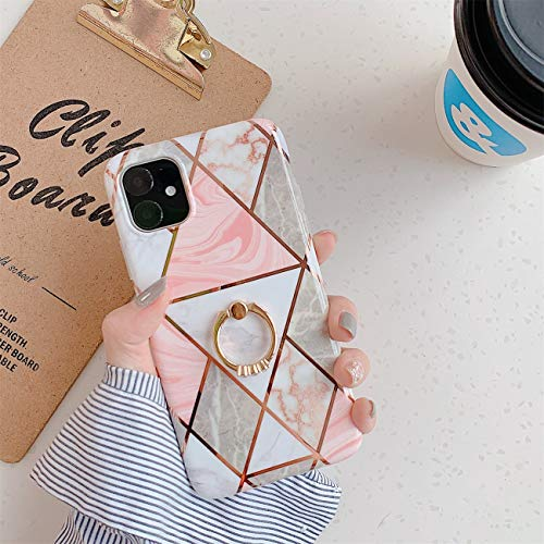 Bakicey iPhone 12 Pro Max Hulle iPhone 12 Pro Max Marmor Handyhulle mit 360 Grad Ring Stander Ultra Dunn Soft Silikon TPU Bumper Stosfest Case Anti kratzt Schutzhulle fur iPhone 12 Pro Max 16