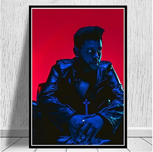 HIOJDWA Impresiones De Carteles The Weeknd Starboy R&B House Globos Rap Música Álbum Pintura Al Óleo Lienzo Arte De La Pared Imágenes Sala De Estar Decoración del Hogar 50 * 70Cm Marco
