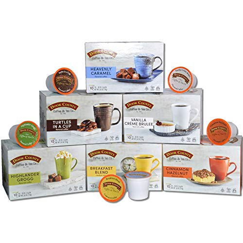 Door County Coffee, Single-Serve Cups for Keurig Brewers, Variety Packs, Includes Highlander Grogg, Cinnamon Hazelnut, Breakfast Blend, Heavenly Caramel, Turtles in a Cup & Vanilla Creme Brulee, 60 Count