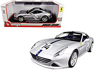 Ferrari California T Hot Rod Silver #14 70th Anniversary 1/18 Diecast Model Car by Bburago