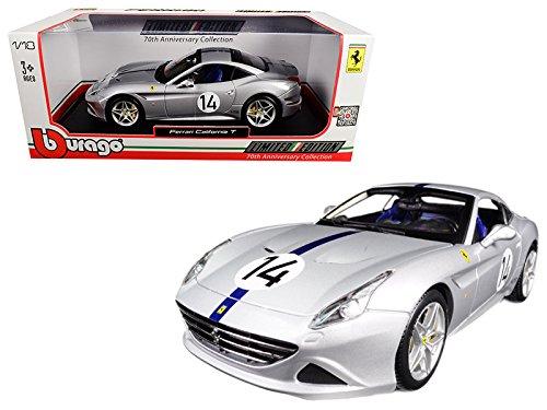 Maisto Ferrari California T Hot Rod Silver #14 70th Anniversary 1/18 Model Car by Bburago