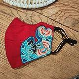 Máscara De Bordado Invierno Engrosado Cálido Nacional Decoración De Viento Polvo-a Prueba De Polvo Máscara Se Puede Limpiar Rojo