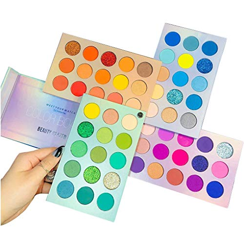 Beauty Searcher 60 Farben Lidschatten-Palette 4 in 1 Color Board Make-up-Palette Hochpigmentierte helle Farbe Nude Shimmer Matte Glitter Cream Lidschatten-Paletten