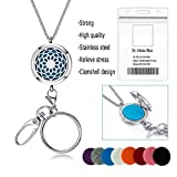 LEGENSTAR Nurse ID Badge Holder with Lanyard,Fashion Silver Stainless Steel Necklace for Women,Key Ring Chains Non Breakaway Essential Oil Diffuser Badge Holders… (Steel Chain)