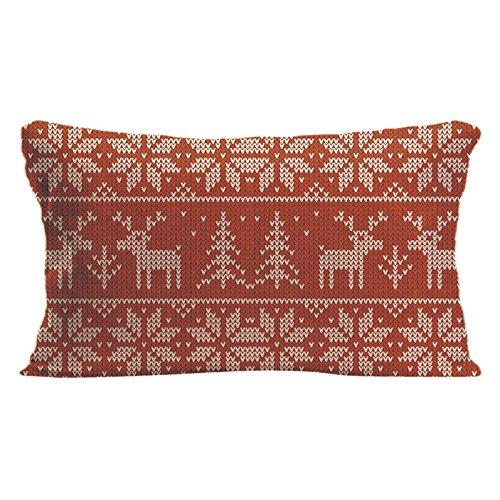 ldj algodón poliéster sofá silla rectangular manta funda de almohada Funda de cojín (funda de almohada diseño con rojo de punto jersey con ciervo Navidad personalizadas personalizado funda de almohada de tamaño 12x 20cm