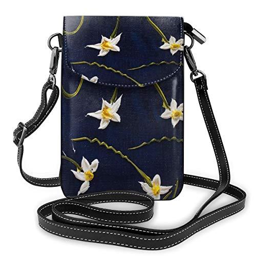 Kleine Umhängetasche mit weißen Blumen und Tischlampe, Handtasche aus PU-Leder, mit verstellbarem Riemen für den Alltag