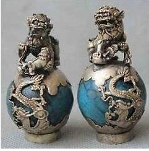 DDZKA estatua1 Par Tibet Silver Dragon Turquoise Phoenix Ball Foo Fu Dog Guardion Lion Pair Estatua, 1