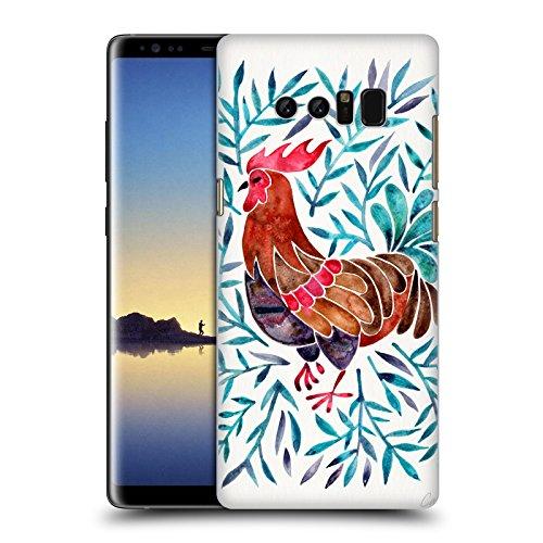 Head Case Designs Oficial Cat Coquillette Gallo Hojas Verdes Aves 2 Carcasa rígida Compatible con Samsung Galaxy Note8 / Note 8