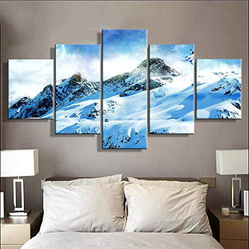 SZQY canvas prints 5 stuks Artwork posters snowboard Home Decor woonkamer muurkunst canvas gedrukt modern modulaire schilderijen