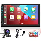 podofo Double Din Car Stereo Compatible with Voice Control Apple Carplay and Android Auto,7'' HD Touchscreen Car Radio, Bluetooth, USB Port,FM Car Radio Receiver, Backup Camera,External Microphone