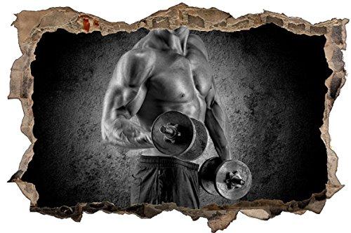DesFoli Mann Muskeln Sport 3D Look Wandtattoo 70 x 115 cm Wanddurchbruch Wandbild Sticker Aufkleber D623