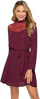 Yinew Vestito con colletto in pizzo, a maniche lunghe, a pendolo, in vita, alla moda, slim fit, da principessa, colore ros...