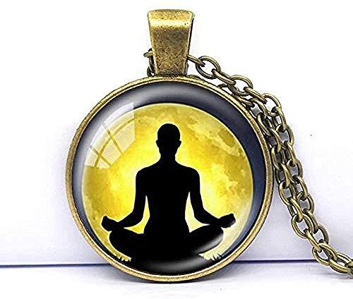 Chakra Yoga Collares Colgantes Cadena de Bronce Collar de hinduismo Signo Meditación P o Collares Mandala Collar Zen Longitud de la Cadena Aprox.50cm