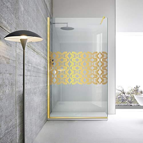 Modern Glass Art Leroy - Mampara de ducha (cristal templado de bronce de 8 mm, nano, acabado de latón dorado), diseño de tulipán dorado, transparente