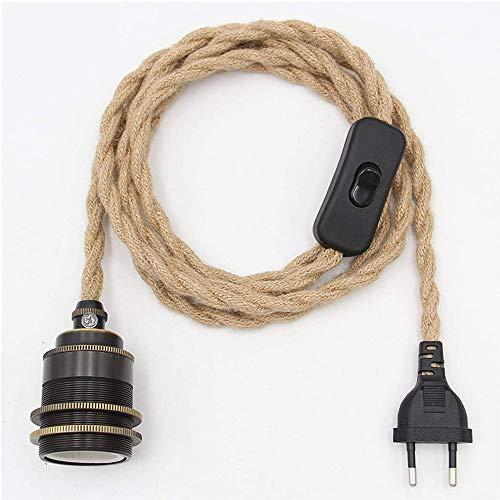 Kit de lámpara colgante de cuerda de cáñamo Vintage con enchufe de interruptor DIY Cable de luz colgante de una sola cabeza Cable E27 Enchufe Cable textil Decoración Iluminación para dormitorio (A)