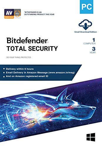 BitDefender 1 User, 3 Years Total Security (Windows) Latest Version with Ransomware Protection - (Email Delivery in 2 hours - No...