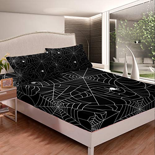 Feelyou Boys Spider Web Printed Bedding Set for Kids Children Halloween Themed Bed Sheet Set Decorative Scary Spider Pattern Fitted Sheet Black White Animal Theme Bed Cover Queen Size 3Pcs