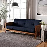 DHP Monty Full Size Walnut Wood Arm Frame with 8' Thermobonded High Density Polyester Fill Futon Microfiber Mattress, 8 inch, Blue