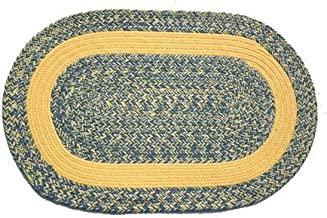 product image for Oval Braided Rug (2'x3'): Williamsburg Blue, Yellow & Cream - Yellow Band
