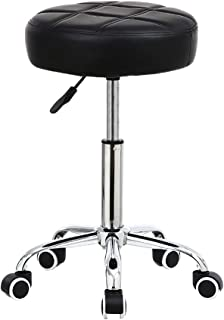 KKTONER Round Rolling Stool Chair PU Leather Height Adjustable Shop Stool Swivel Drafting Work SPA Medical Salon Stools with Wheels Office Chair Black