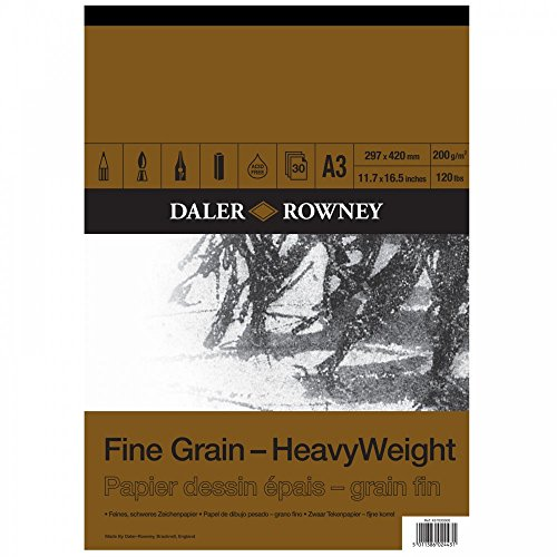 Bloc Encolado ideal para Dibujo DALER ROWNEY Fine Grain, de Formato 29,7 x 42 cm, con 30 Hojas de Papel de 200 g/m2 de Grano Fino
