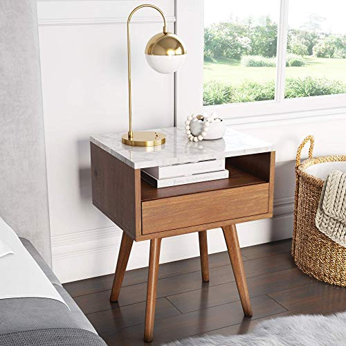 Nathan James James Mid-Century Round Accent Side or End Table Walnut Finish Wood and Faux Marble Top with Storage Nightstand, Frame, White/Brown