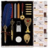 FunWr1te Quill Pen Ink and Wax Set - Feather Calligraphy Pen Set Includes 5 Nibs Sealing Stamp, 3 Colors Wax Seal Strips, Wood Handle Spoon, Gold Letter Opener, Black Dipping Ink and Candle (Blue)