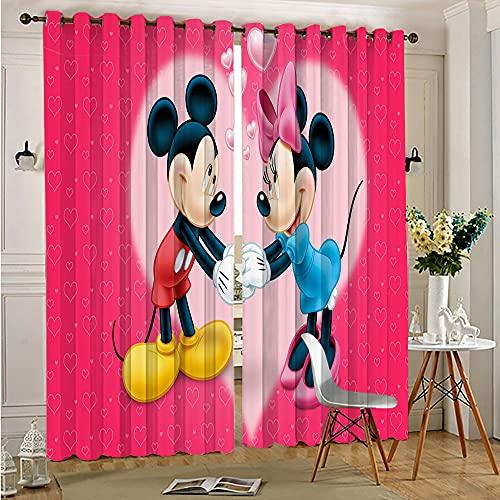 STTYE Black Out Window Curtain Minnie Mickey Mouse Grommet Curtains Blackout Window Drapes 140cmx250cm x 2 pcs
