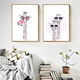 ZYQYQ Arte de pared Animal con gafas Dibujos animados Rosa Jirafa Póster Impresión HD Lienzo Pintura Imágenes modernas nórdicas Decoración de la habitación de los niños 40x60cmx2 Sin marco