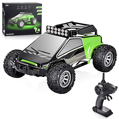 kingduos 1:32 RC Car, Rechargeable Remote Control Car, High Speed 2WD Electric Vehicle with 2.4 GHz Radio Controller, Gift Toy for Kids,Green