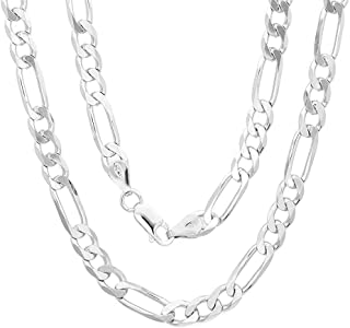 Authentic Solid Sterling Silver Figaro Link .925 ITProLux Necklace Chains 2MM - 10.5MM, 16