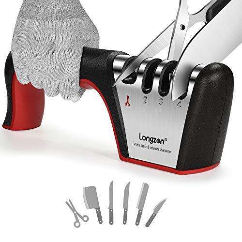 4-in-1 longzon [4 stage] Knife Sharpener with a Pair of Cut-Resistant Glove, Original Premium Polish Blades, Best Kitchen Knife Sharpener Really Works for Ceramic and Steel Knives, Scissors.