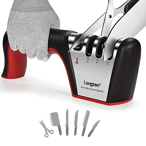 Afilador de Cuchillos, longzon 4 en 1 Afilador de Cuchillos Profesional Premium Original ayuda a Reparar, Restaurar y Pulir los Cuchillos y con los Guantes Antideslizantes, para Cuchillos y Tijeras