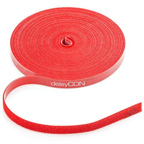 deleyCON 10m Klett Kabelbinder Klettband Klettbandrolle 10mm Breit Kabelmanagement Kabelorganizer Klettkabelbinder Klettverschluss zuschneidbar Rot