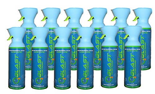 99.7% Pure Oxygen Supplement, (9 Liter Oxygen Canister) Quick Recovery for Exercise, Hangovers, and Altitude Sickness. Custom Designed Mask - 12 Pack - All Natural