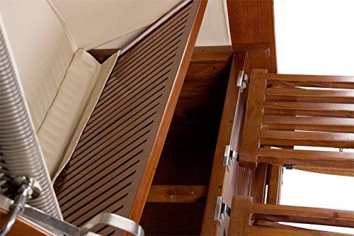 Luxus Mahagoni XXL Strandkorb Volllieger für 2 Personen aus Hartholz Grau-Weiß Gestreift – Aufgebaut und Einsatzbereit Strandkorbwelt365 - 4