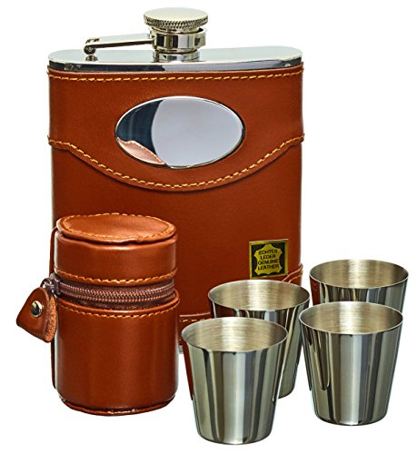 Hip Flask Set, Whiskey Flask Set - 6oz Brown Leather Hip Flask With Engravable Silver...