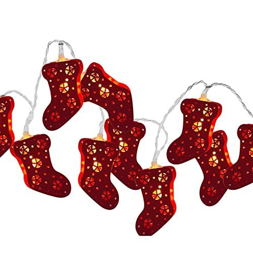 HELTER Cadena de luces LED de Navidad con cadena de luces de Navidad, funciona con pilas, luces de Navidad, para el hogar, fiesta, decoración interior y exterior, 10 ledes de 7.5 pies, color rojo