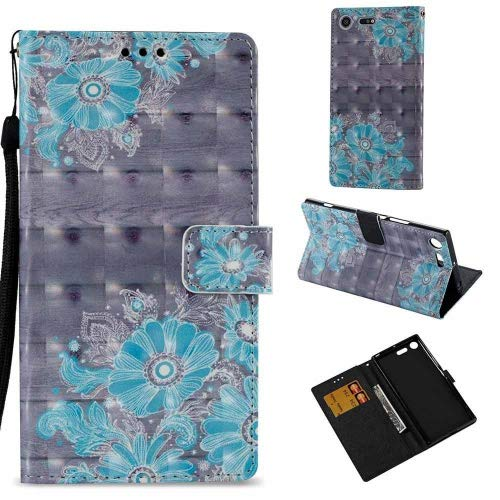 COOSTOREEU Sony Xperia XZ Premium Case, Cute Funny Colorful Painting 3D Pattern PU Leather Wallet Case,Flower #2
