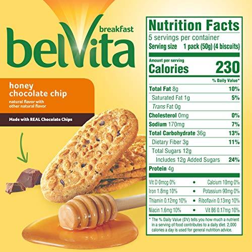 belVita Honey Chocolate Chip Breakfast Biscuits, 5 Packs (4 Biscuits Per Pack)